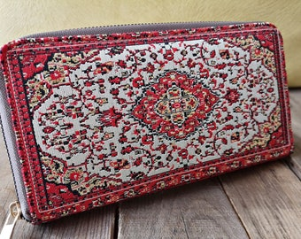 Authentic Wallet Carpet Bag Pouch Dark Blue Traditional Turkish Style Woven Tapestry Coin Purse with Zipper Kilim Pattern