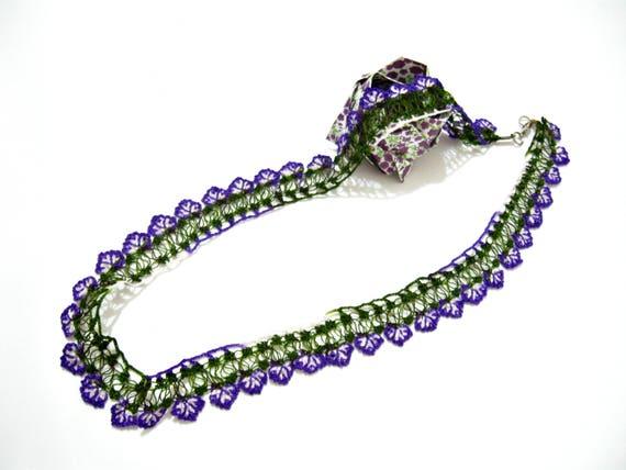 Turkish oya crochet necklace Beaded beadwork seed beads Floral flowers jewelry Lariat long Boho bohemian unique needle lace Women daisy belt