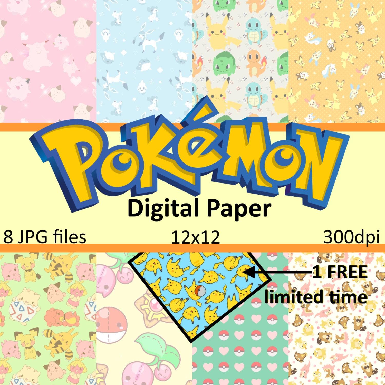 Pokemon Go Paper Pack 12x12 Instant Download Scrapbook Paper | Etsy