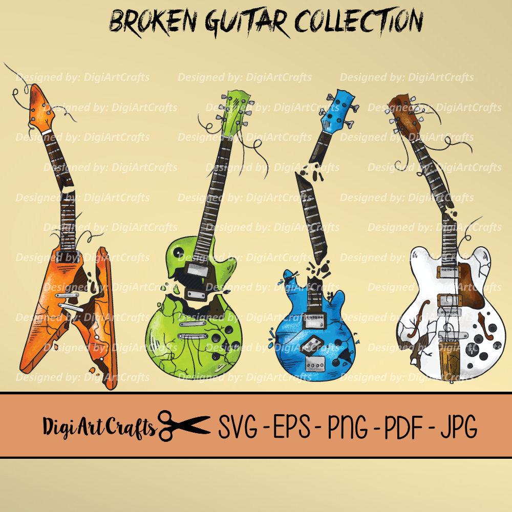 Broken Guitar Vectors / Rock Band clip art / Heavy Metal music | Etsy