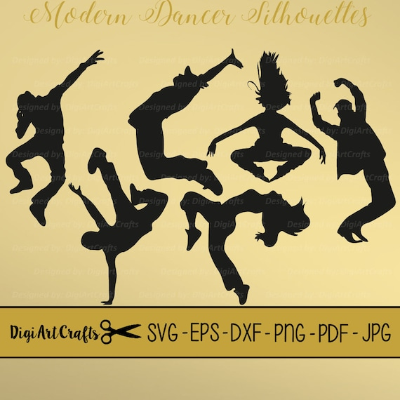 Modern Dancer Silhouettes Svg Cutting Files Dyi Dance Etsy