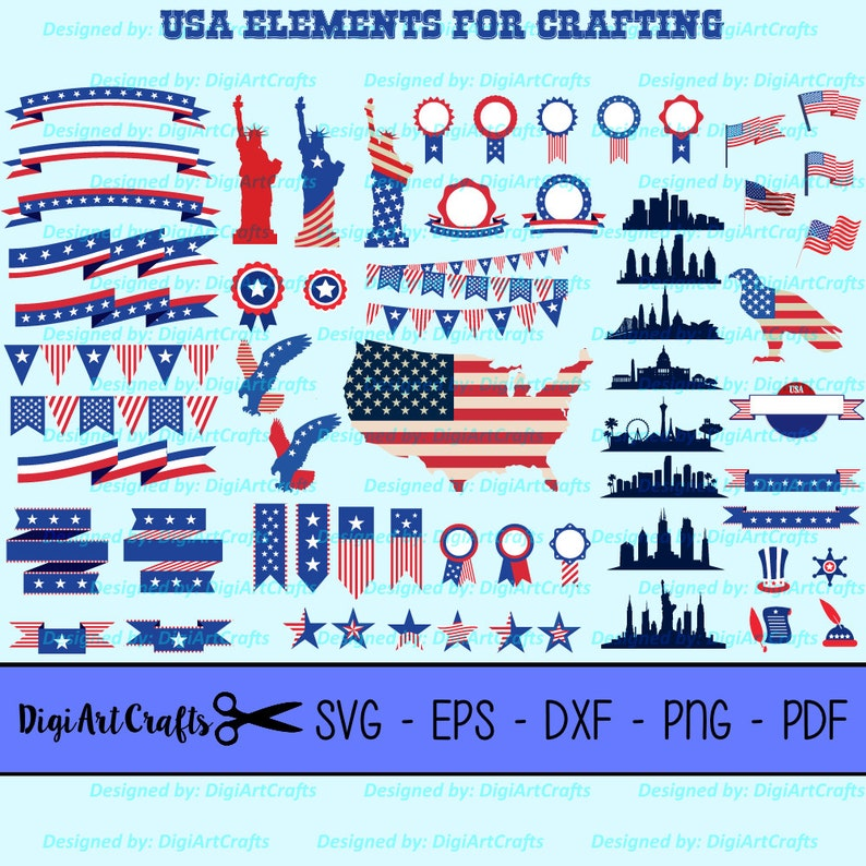 Presidents Day USA patriotic SVG cutting Files  62 United States Elements for crafting  DIY 4th of July New Years  Red White and Blue