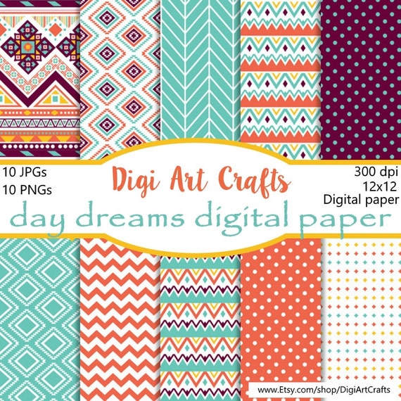 Day Dreams Paper Pack 12x12 Instant Download Scrapbook Paper Etsy