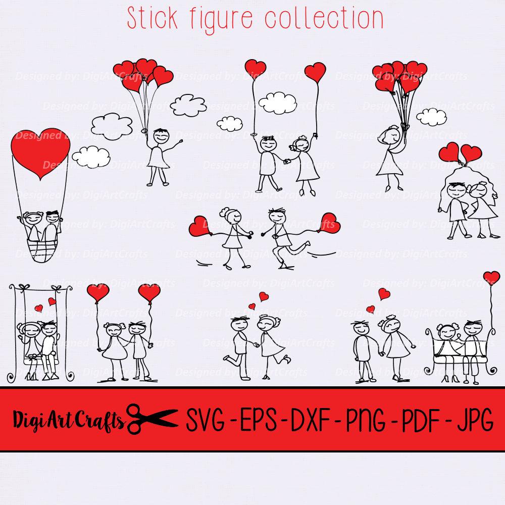 Stick figure couples clipart / stick figure art / DIY ...