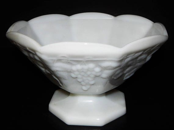 Milk Glass Fruit Stand Milk Glass Pedestal Compote with Grapes Vase
