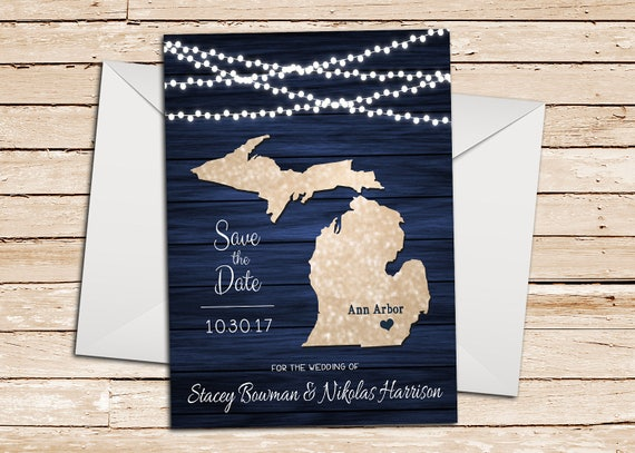 Lake Superior Blue Theme Michigan Wedding Save the Date Card