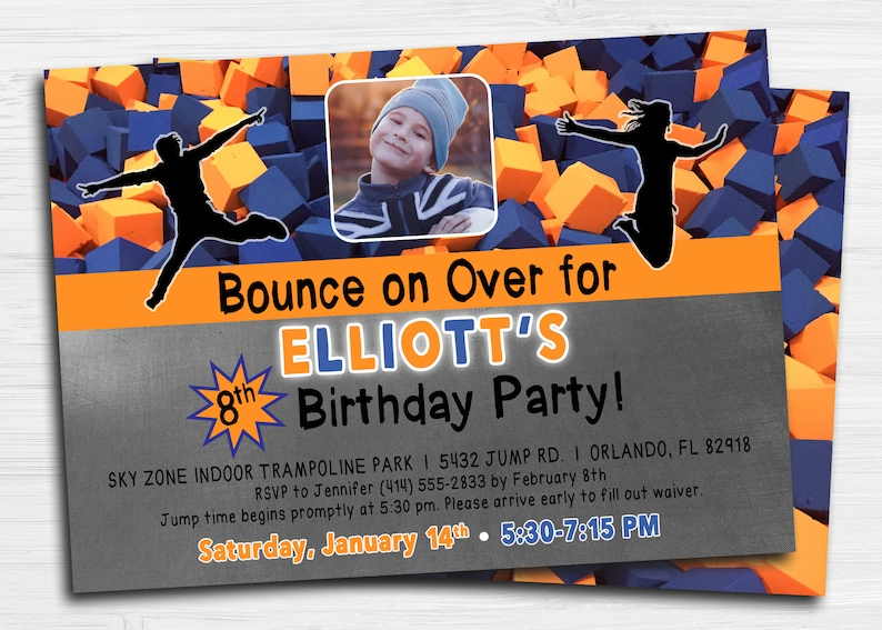picture about Skyzone Printable Waiver identify SkyZone Leap Trampoline Invitation City Air Jump Soar Photograph Birthday