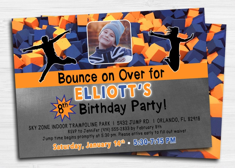 image relating to Skyzone Printable Waiver referred to as SkyZone Bounce Trampoline Invitation City Air Jump Leap Image Birthday