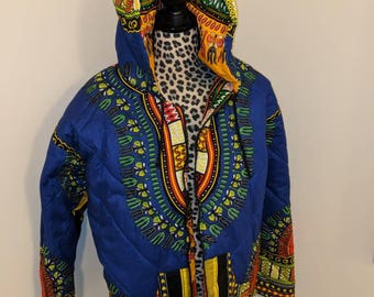 Reversible Dashiki Bomber Jacket With Hood