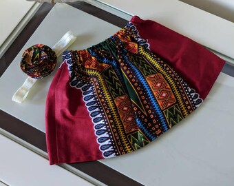 Newborn Dashiki Skirt and headband