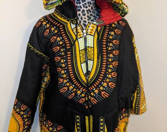 Reversible Hooded Dashiki Bomber Jacket