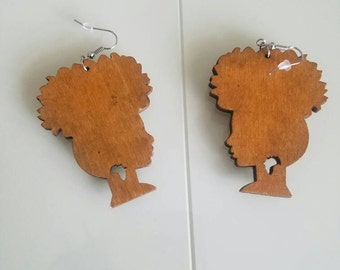 Natural Wood High Puff Earrings