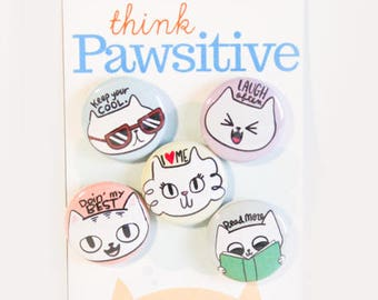 Cat Buttons / Cat Pin / Kitty Pins / Cat Button Set / Cats / Cat Pin Set / Cat Pins / Happy Cat Pins / Cute Cat Pins / Gift for Cat Lady