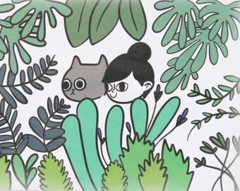 Cat and Girl Tiny Print / Cat Art Prints / Cat Illustration / Tiny Cat Illustration / Cat Illustrations / Cat Art Print / Cat Lady Print