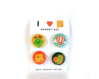 New Mexico Magnets / ABQ Gift / ABQ Magnets / Cactus Magnets / New Mexico Gift / New Mexico Stocking Stuffer / Albuquerque Gifts / Burque