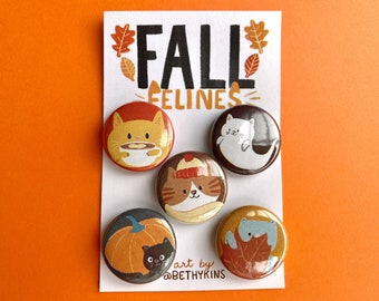 Fall Decor / Cat Magnets / Fall Magnets / Autumn Decor / Cute Cat Gifts / Gift for Cat Lady / Autumnal Decor / Cats / Refrigerator Magnets
