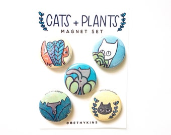 Cats Magnets / Plant Magnets / Cats and Plants / Cat Magnet / Cute Cat Gifts / Gift for Cat Lady / Plants / Cats / Refrigerator Magnets