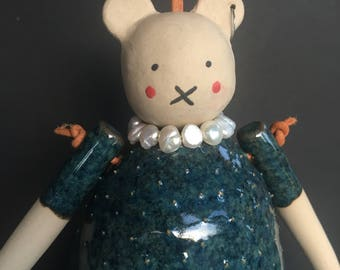 Ceramic bear with piercing and freshwater pearl necklace of stoneware leather cord Poppy Collection