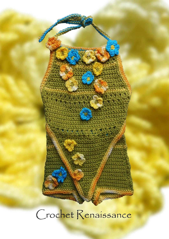 Girls Crochet Halter Top & Hot Pants PATTERN ONLY Cute cotton summer ...