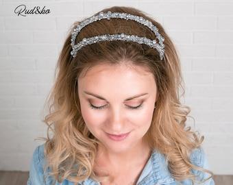 Silver Hair band, Bridal Tiara, Crystal Bridal Crown, Bridal Hair Accessory, Wedding Headpiece, hair rim, Hair pin, Bridesmaid Hair Pins