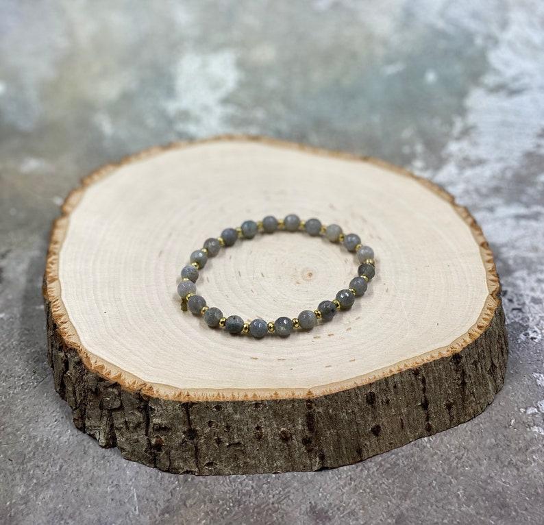 Power Gemstone Labradorite stretch healing crystal bracelet natural gemstone stretch jewelry