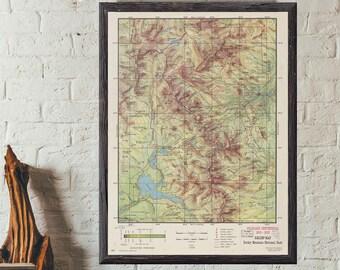 Map of Rocky Mountain Estes Park  - Antique 1959 U.S National Parks Colorado Estes Park - Office decor