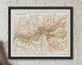 Yosemite Shaded Relief Map / Yosemite National Park map print / Yosemite Art / California Map