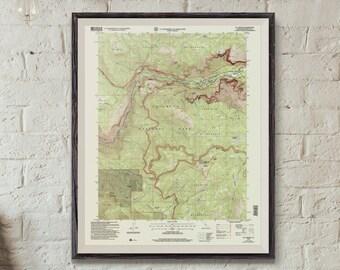 Yosemite Map / Vintage Topographic yosemite National Park map / El Capitan Half dome / California Map