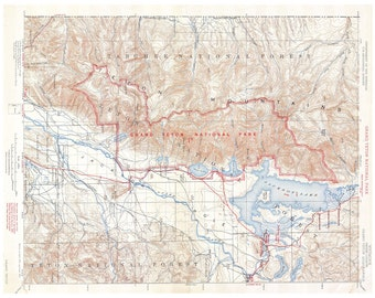 Yellowstone National Park Topographic Map.Yellowstone National Park Map Of Tourist Routes Printable Map Etsy