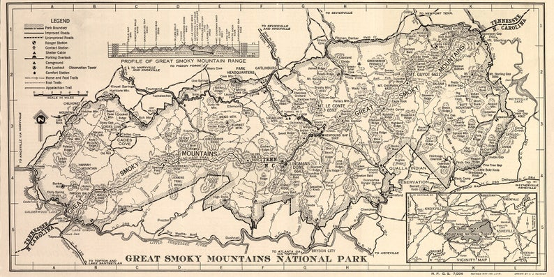 Great Smoky Mountain National Park Map Gatlinburg Tennessee Etsy