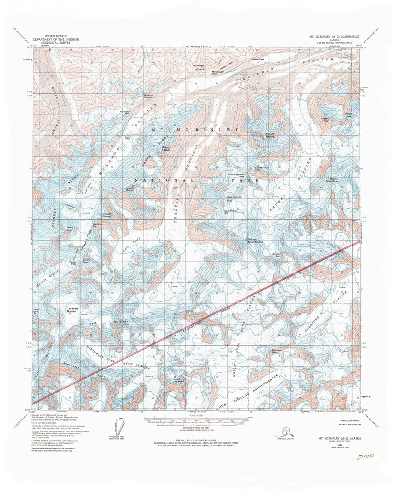 Mt Mckinley Topographic Map Denali National Park Map Print Etsy - Mt-mckinley-on-us-map