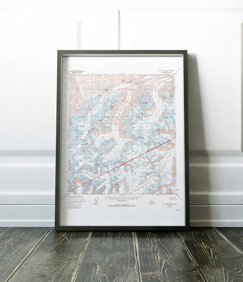 Denali National Park Topographic Map.Mt Mckinley Topographic Map Denali National Park Map Print Etsy