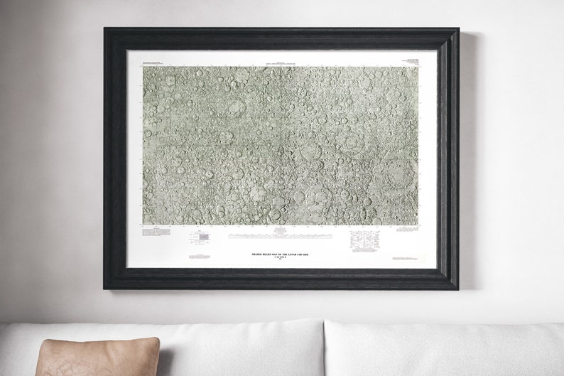 Moon Map / NASA Map Poster / Dark side of the Moon / Space   Etsy Dark Side Of The Moon Map on