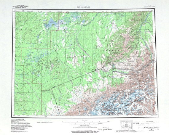 Denali National Park Topographic Map.Denali National Park Map Print Mt Mckinley Topographic Map Etsy