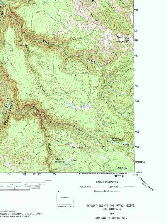 Topographische Karte Ungarn.Yellowstone Topographische Karte Des Drucks Vintage Wyoming Karte Kunst Nationalpark Poster