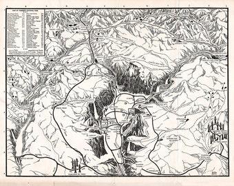 Printable Yosemite Illustrated Map / DIGITAL DOWNLOAD / Antique National Park map print / California travel art 8x10, 11x14, 16x20