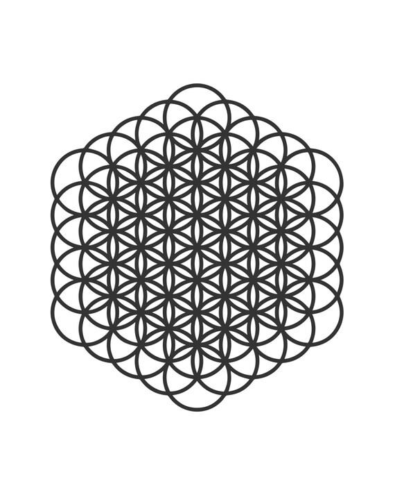 Flor de la vida sagrada geometría para imprimir negro y blanco | Etsy