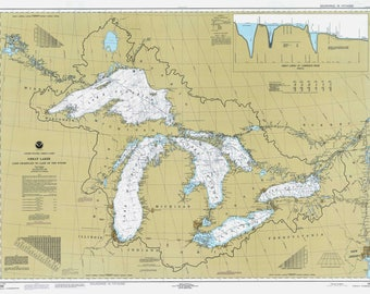 Great Lakes map / Map of Lake Michigan Huron Superior Eerie Ontario