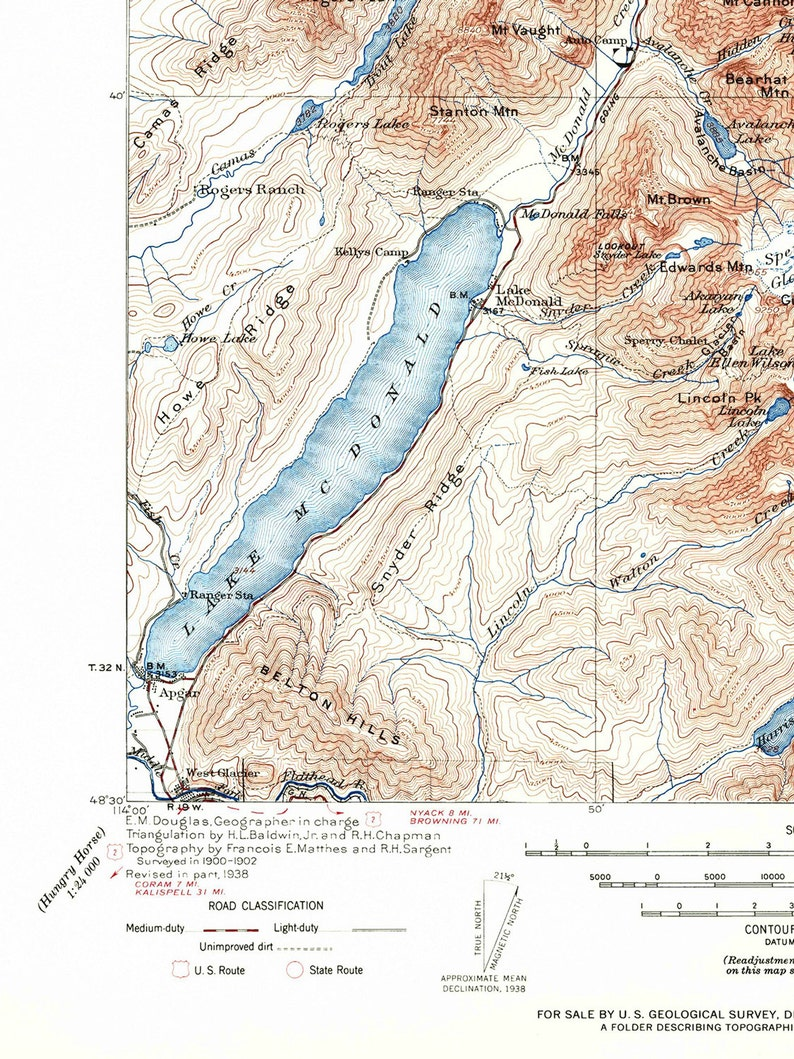 photograph relating to Printable Map of Glacier National Park called Glacier Nationwide Park Map / Montana Topographic Map Print / Tailor made Measurement