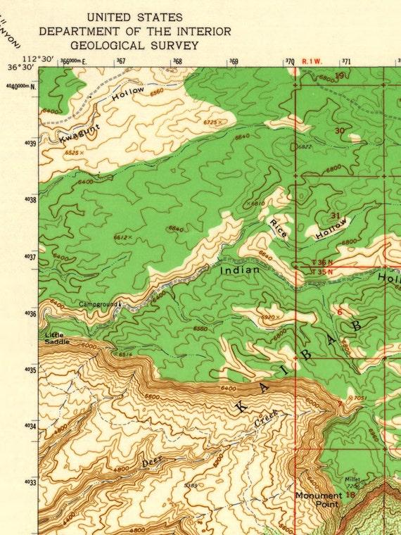 Topographical Map Of Arizona.Grand Canyon National Park Map Arizona Topographic Map National Park Map Kaibab Plateau Map Art