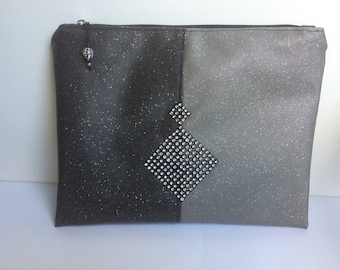 Clutch for evening festive Christmas or new year in faux glitter. Unique piece of designer