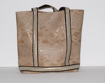 Large tote bag in faux Tan Leather, perfect for back to school or shopping