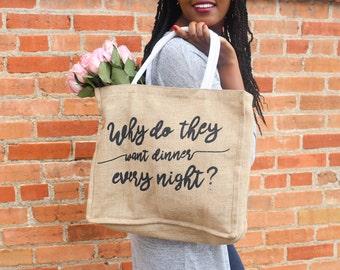 Printed Jute Blend Grocery Bag with Waterproof Liner