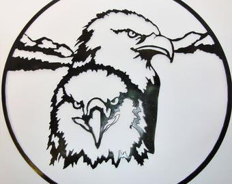 "Double Eagles metal wall art in round 16"" ring"