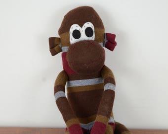 Natural striped Sock Monkey, Sock monkey doll, stuffed animal, kids toy,