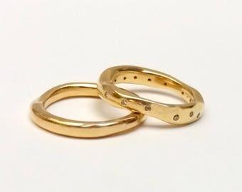 Unique Wedding Rings Band, Asymmetric Wedding Rings, Gold 18 k Wedding Rings, Modern Wedding Rings, Wedding Rings Band, White Diamonds Band