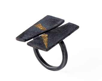 Oxidized Silver and Gold Open Ring, Black & Gold Geometric Ring, Unique Texture Ring, Geometric Black Open Ring, Black Rough Ring, XMAS gift