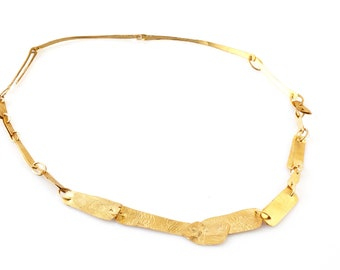 Gold 22KT Unique Short Necklace, Gold Necklace For Weddings, Modern Gold Necklace, Gold Necklace For Bride, Minimalst Elegant Gold Necklace