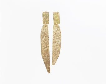 Gold Post Earrings, Unique Texture Solid Gold 18KT Earrings, Asymmetrical Gold Earrings, Strong Presence Gold Earrings, Long Dangle Earrings