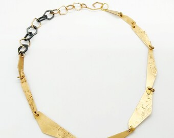 Solid Gold 14k Necklace, Unique Texture Necklace, Variety Wearing Necklace, Gold and Black Links Necklace, Statement Gold and Black Necklace